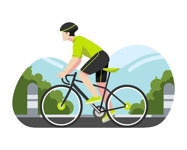 Homem andando de bicicleta na rua ilustração vetorial