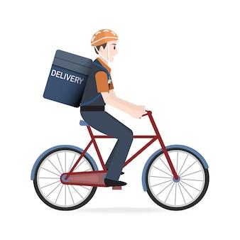 Homem andando de bicicleta para correio