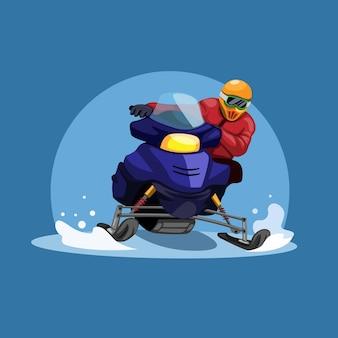 Homem andando de corrida de motos de neve no conceito de temporada de inverno na ilustração dos desenhos animados