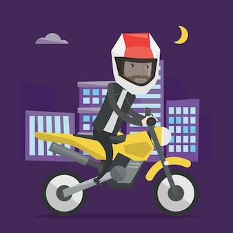 Homem andando de moto à noite ilustração