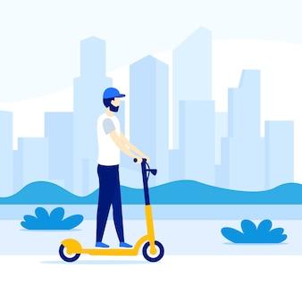 Homem andando de scooter elétrico na cidade,