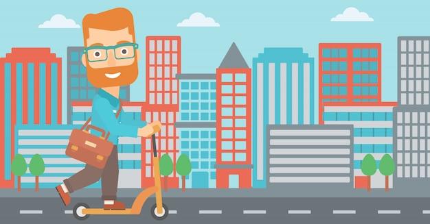 Homem andando de scooter.