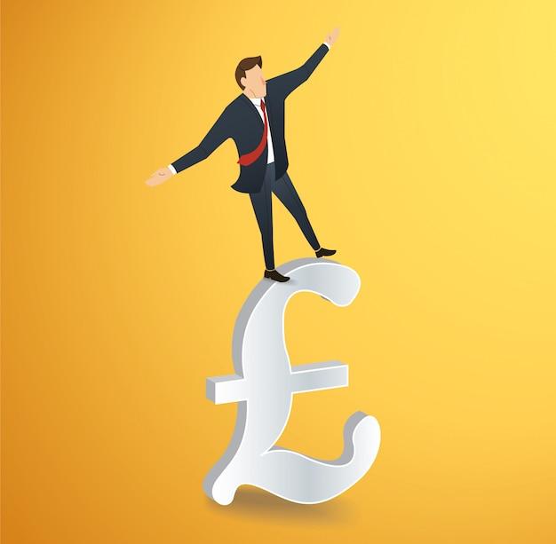 Homem andando em equilíbrio no ícone de libra britânica
