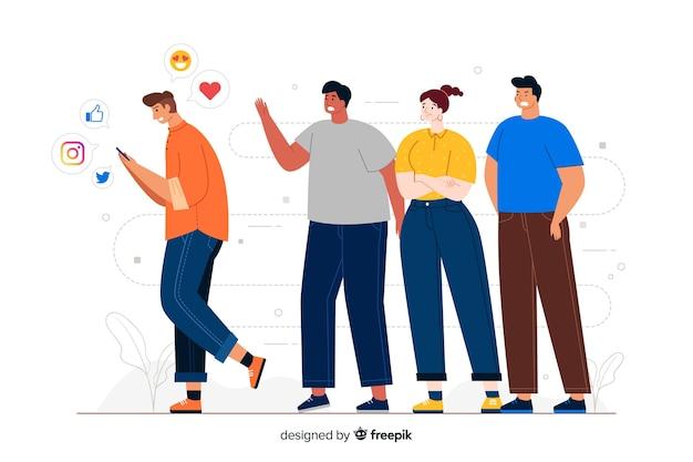 Homem andando longe da ilustração do conceito de grupo