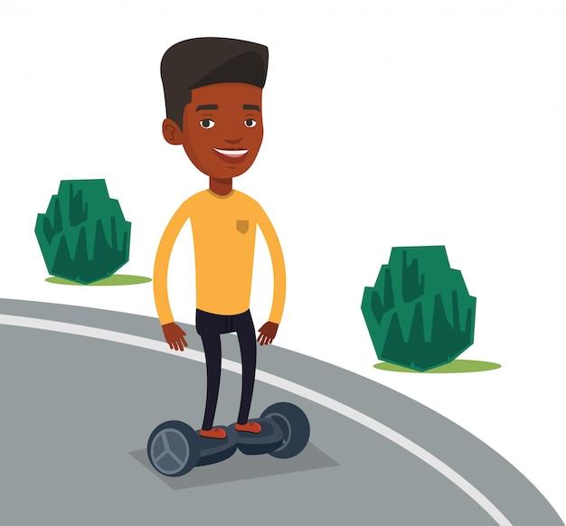 Homem andando na auto-equilíbrio scooter elétrico.