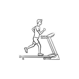 Homem andando na esteira de mão desenhada esboço ícone de doodle. estilo de vida saudável, máquina de fitness, conceito de academia