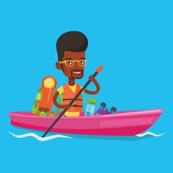 Homem andando na ilustração de caiaque.