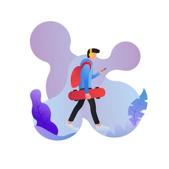 Homem andando ouvindo a música com skate na mão ilustração em vetor design de personagem