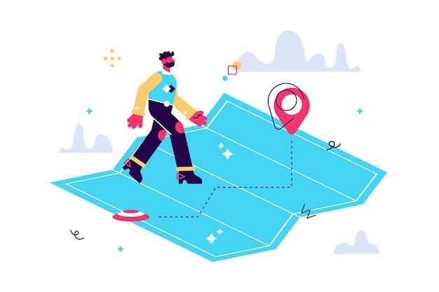 Homem andando. pessoas caminham sinal. homem no conceito de mapa simples.