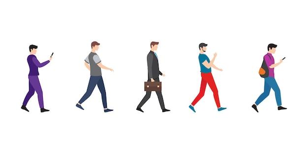 Homem andando pessoas ilustração em vetor ícone design modelo