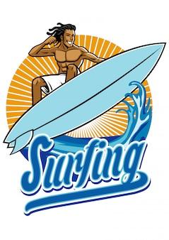 Homem andando surf em ação