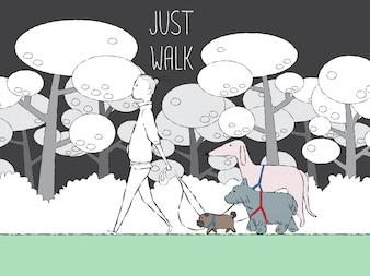 Homem, andar, com, cachorros