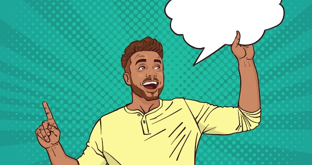 Homem animado, apontando o dedo até o chat bolha pop art estilo fundo