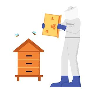Homem apicultor em traje de proteção branco trabalhando no apiário, rodeado por estilo de membros grandes de abelha