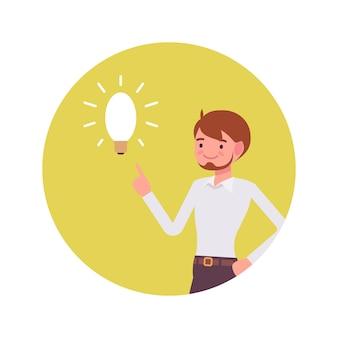 Homem aponta para uma lâmpada