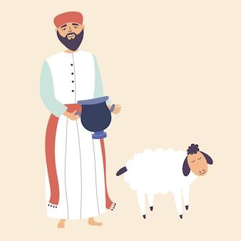 Homem apresenta presentes deuses traz sacrifício animal de estimação adore a deus