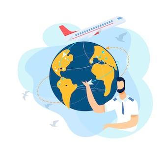 Homem apresenta viagem aérea internacional.