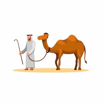 Homem árabe andar com camelo na sobremesa, animal de estimação animal no leste da ásia em illustrtion dos desenhos animados sobre fundo branco