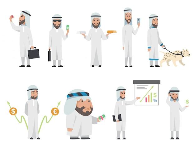 Homem árabe bem sucedido em roupas brancas. cartoon sorrindo empresário islâmico, vestido com roupas tradicionais. homem com gráficos, animal, saco, smartphone, ouro-prata, diamante, dólar, euro