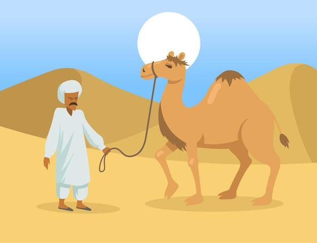 Homem árabe com camelo corcunda no deserto