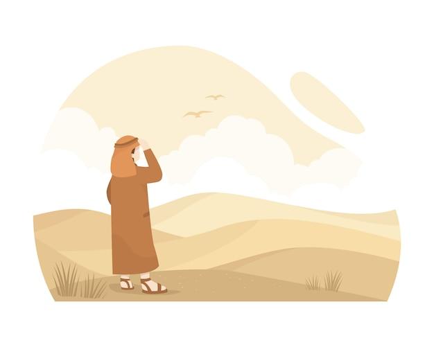 Homem árabe de pé no meio do deserto sozinho ilustração