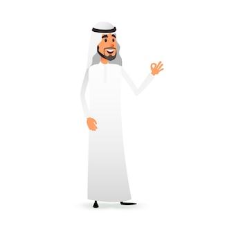 Homem árabe desenho animado fazendo gesto de aprovação