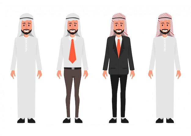 Homem árabe do negócio no caráter uniforme dos povos dos trabalhos de equipa.