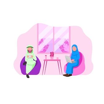 Homem árabe e mulher usando gadget
