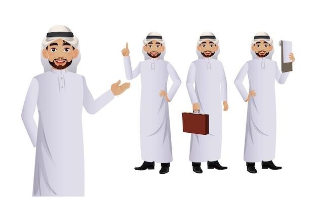 Homem árabe elegante com poses diferentes