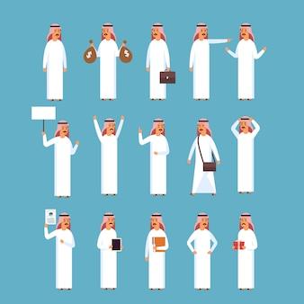 Homem árabe, jogo, islam homem negócios, desgastar, roupa tradicional, cobrança