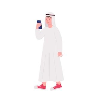 Homem árabe jovem hippie observando ilustração no smartphone