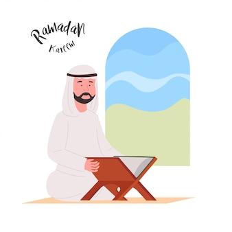 Homem árabe lendo cartoon
