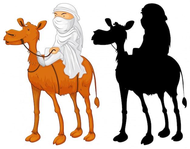 Homem árabe montando camelo