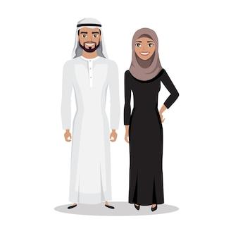 Homem árabe muçulmano e mulher juntos em roupas tradicionais islâmicas em estilo simples.