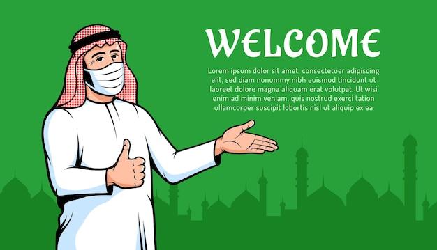 Homem árabe muçulmano em máscara facial durante uma pandemia novo gesto de polegar para cima homem positivo árabe normal