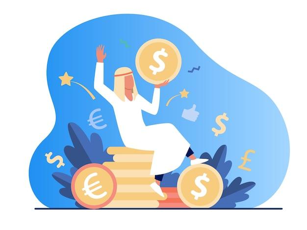 Homem árabe sentado na pilha de moedas de ouro. dólar, dinheiro, ilustração em vetor plana dinheiro. finanças e riqueza
