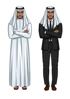 Homem árabe, vestindo roupas tradicionais, em pé na frente