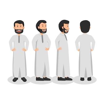 Homem árabe virar design de personagens