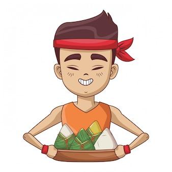 Homem asiático com bolinhos de arroz
