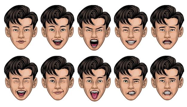 Homem asiático com várias expressões faciais