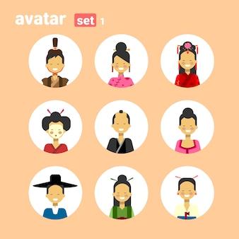 Homem asiático e mulher avatar conjunto ícone fêmea do sexo feminino em traje tradicional perfil retrato coleção