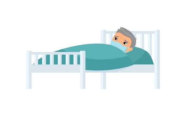 Homem asiático idoso doente com máscara médica na cama de hospital. avô com personagem de desenho animado de doença viral.