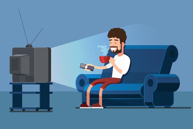 Homem assiste tv no sofá com ilustração de xícara de café. assistir tv e tomar café, relaxar em casa no sofá