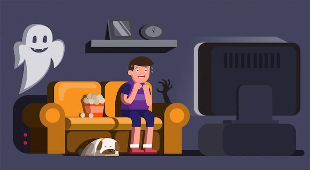 Homem assistindo filme de terror assustador com cachorro adormecido e fantasma na ilustração de noite
