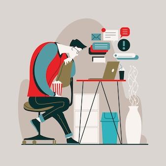 Homem assistindo filmes em vez de trabalhar