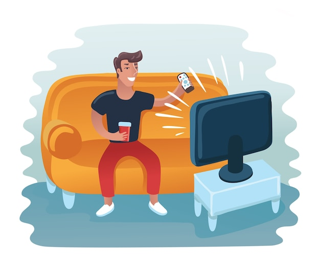 Homem assistindo televisão na poltrona.