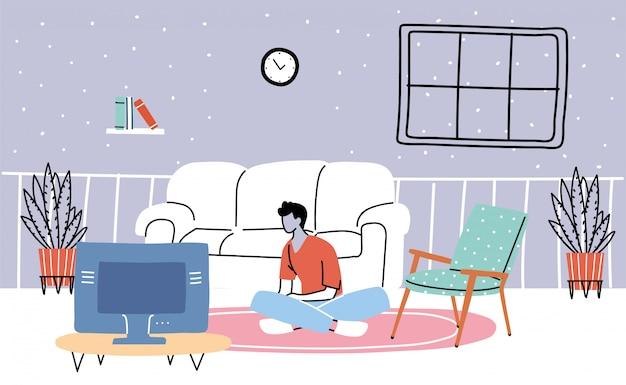Homem assistindo tv, gastando tempo com isolamento e quarentena
