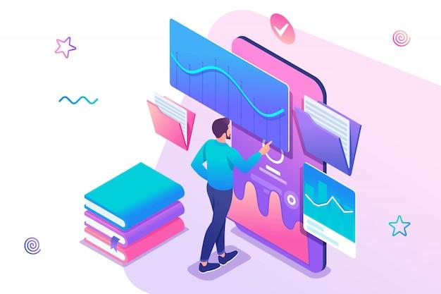 Homem assistindo uma lição no site, treinamento on-line, e-learning