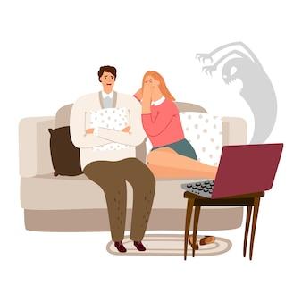 Homem assustado e mulher assistindo ilustração de filme de terror