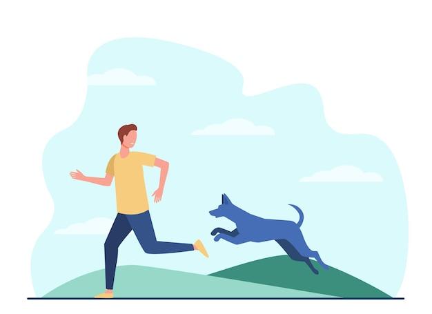 Homem assustado fugindo do cachorro